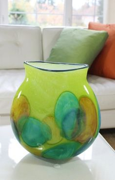 Lime Yellow Oval Hand Blown Glass Flower Dot by alisglassdesigns