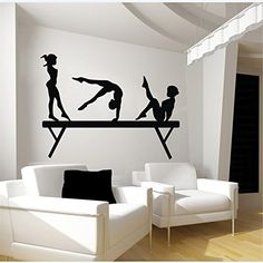 Gymnasts and Balance Beam Vinyl Wall Decal Sticker Graphic By LKS Trading Post Wall Stickers Window, Wall Stickers Murals, Wall Decal Sticker, Gymnastics Bedroom, Sports Wall Decals, My New Room, Decoration, Balance Beam, Room Decor