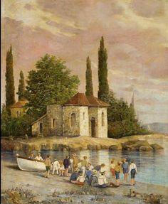 Ioannis Koutsis On the beach, Spetses Greek Paintings, Art Paintings, Greek Art, 10 Picture, Landscape Paintings, Landscapes, Conceptual Art, Aesthetic Art, Artist Painting