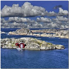 red house rocky shore, Tjorn, Vastra Gotaland, Sweden