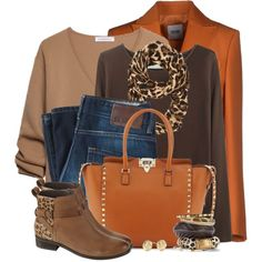 """""""Orange & Leopard for Fall"""" by brendariley-1 on Polyvore"""