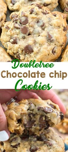 cookie recipes DoubleTree chocolate chip cookies are amazing, but this chocolate chip cookie recipe is even BETTER than the DoubleTree Chocolate Chip Cookies recipe! Its gooey and full of chocolate, oats, and walnuts. Plus, these are HUGE cookies! Cake Mix Cookie Recipes, Easy Cheesecake Recipes, Best Cookie Recipes, Yummy Cookies, Sweet Recipes, Baking Recipes, Double Tree Cookies Recipe, Cookies With Oats, Fun Recipes