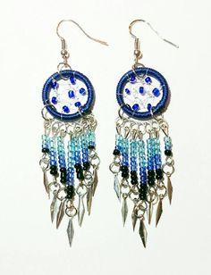 Handmade Blue Dream Catcher Earrings