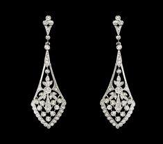 Vintage Style Cubic Zirconia Silver Earrings--Affordable Elegance Bridal -