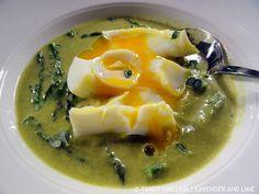 Asparagus Soup With Poached Egg And A Rarebit Croûton