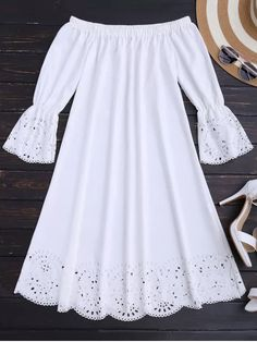 Laser Cut Midi Off The Shoulder Dress - White M - Like Tutorial and Ideas White Outfits, Dress Outfits, Summer Outfits, Summer Dresses, Cute Dresses, Casual Dresses, Short Dresses, Casual Clothes, African Fashion Dresses