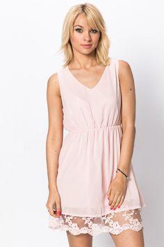 Lace Hem Skater Dress