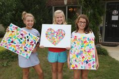 Crafts to do with tweens (paint chips art, yarn wrapped wreath, and yarn wrapped vase)