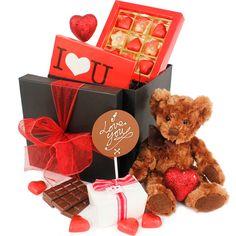 Valentines Chocolate Hamper www.eden4chocolates.co.uk Chocolate Hampers, Chocolate Gifts, Valentine Chocolate, Gifts Delivered, Flowers Delivered, Delicious Chocolate, Chocolates, Bouquet, Gift Wrapping