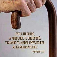 Proverbios 23:22 Oye a tu padre, a aquel que te engendró; Y cuando tu madre envejeciere, no la menosprecies. ♔