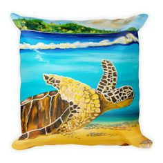 Large Brown Turtle II • Square Pillow#pillow#kids#kidsroom#kidsdecor#turtle#homedecor#products#tropical#love#mjscraftedconcepts#