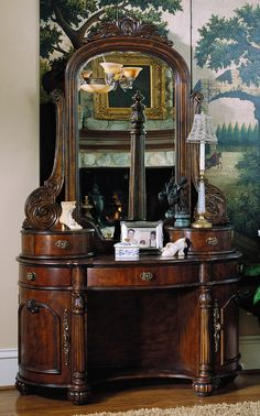 Pulaski Edwardian Wood Makeup Vanity Table, offered by Pulaski Furniture, browse our great selection of Vanities Victorian Furniture, Antique Furniture, Bedroom Furniture, Home Furniture, Bedroom Decor, Dream Furniture, Furniture Vanity, Furniture Styles, Luxury Furniture