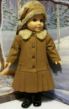 1914 wool coat and plush hat