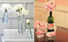 Use garrafas de vidro para criar uma decoração fofa e econômica