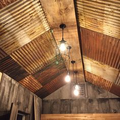 10 pieces of Antique Drop Ceiling Tiles Reclaimed from Vintage Corrugated Metal Barn Tin - Drop Ideas Drop Ceiling Tiles, Dropped Ceiling, Drop Ceiling Basement, Porch Ceiling, Ideas Cabaña, Silo House, Tiles Price, Barn House Plans, Metal Buildings