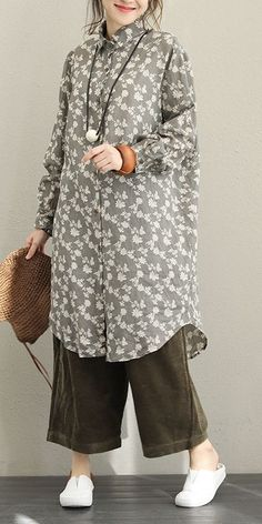Fall Vintage Print Linen Long Shirt For Women Modest Fashion, Hijab Fashion, Fashion Dresses, Fashion Tips, Fashion Trends, Trending Fashion, Casual Dresses, Casual Outfits, Tunic Dresses