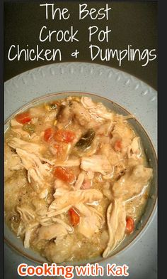 Chicken and dumplings is kind of a staple dish for us. We'll have it once in a while. This is a super easy crockpot recipe with a delicious creamy sauce. They will never know it was refrigerated biscuit dough you were using. I didn't have chicken breasts so I used thighs and you can even used mixed veggies! Rating: 8/10 #crockpot #dumplings #chicken