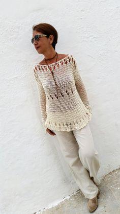 Cream summer sweater cotton knit sweater women sweater by EstherTg