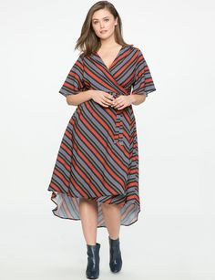 High Low Circle Sleeve Wrap Dress from eloquii.com