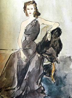 asymmetrical evening gown c. 1958