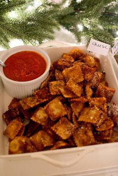 Fried Cheese Ravioli - Baked in the oven and very easy to make!