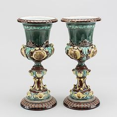 A pair of Rörstrand majolica Neo-Renaissance urns. Bukowski, Urn, Renaissance, Candle Holders, Candles, Design, Candy, Design Comics, Light House