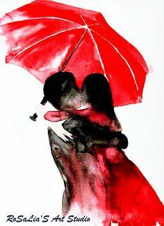 "Print from original watercolor ""Under umbrella"" by Rosalia"