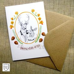 Deer Woodland Wedding Card Engagement Card by feralponyshop