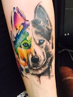 Husky wolf watercolour tattoo art