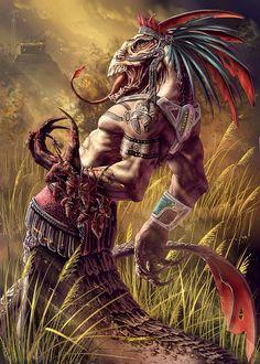 Image IMG 7108 in Fantasy album Fantasy Creatures, Mythical Creatures, Aztecas Art, Aztec Culture, Aztec Warrior, Chicano Art, Mexican Art, Gods And Goddesses, Fantasy Artwork