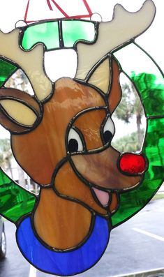 Awesome Rudolph Real Stained Glass Suncatcher, Very Merry Holiday Decoration, Ornament, L and 9 Stained Glass Birds, Stained Glass Christmas, Faux Stained Glass, Stained Glass Designs, Stained Glass Projects, Stained Glass Patterns, Glass Christmas Ornaments, Fused Glass, Christmas Crafts