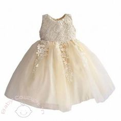 Beige Crochet Lace Girls Party Dress