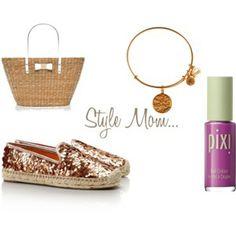 kate spade tote, alex and ani mom bracelet, tory burch rose gold sparkly espadrilles, pixi violet nail polish