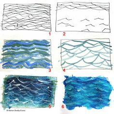 How to Paint Ripples in the Ocean: Focus on the Pattern in the Sea Learn this easy technique for painting realistic ripples in water—whether small or choppy—and soon you will be painting like a pro. Water Drawing, Water Art, Painting & Drawing, Ocean Drawing, Drawing Step, Watercolour Tutorials, Watercolor Techniques, Art Techniques, Watercolor Tips