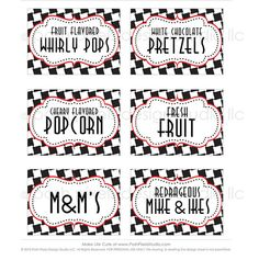 RACE CAR - Printable Designer Party Labels - Black, White, Red and Checkered - DIY Race Car Collection - by Make Life Cute