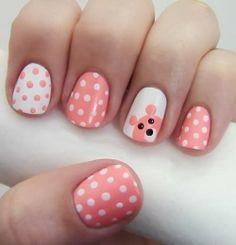 cute bear and polka dot nail art