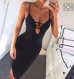 Wheretoget - Deep v black sexy bodycon dress