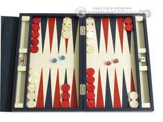 Travel Backgammon Sets - Backgammon Travel - Zaza & Sacci® Leather Backgammon Set - Model ZS-242 - Travel - Blue - View Image - GammonVillage Store USA