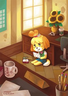 Animal Crossing: New Leaf | Isabelle taking a lunch break :) | I love this illustration so much! <3 Krissy :)