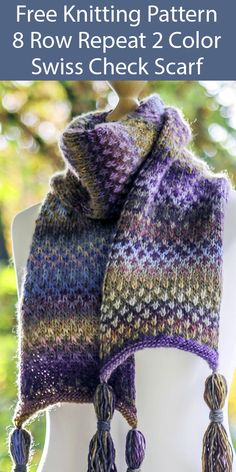 Free Knitting Pattern for Easy 8 Row Repeat 2 Color Swiss Check Scarf Free Knitt. Slip Stitch Knitting, Loom Knitting, Knitting Stitches, Knitting Patterns Free, Knit Patterns, Free Knitting, Knitting Patterns For Scarves, Knitting Tutorials, Vintage Knitting