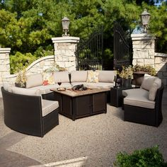 Really want this for the screened in porch! Meridian Classic All Weather Wicker Conversation Set with Granite Fire Pit
