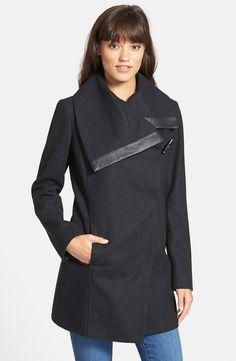 'Fallon' Faux Leather Trim Asymmetrical Wool Blend Coat