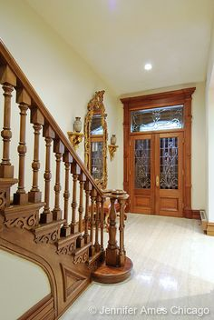 Looks exactly like our entry hall North Dearborn Street Victorian interior bannister door foyer and mirror Victorian Interiors, Victorian Decor, Victorian Architecture, Victorian Homes, Architecture Details, Victorian Stairs, Interior Stairs, Interior Ideas, Interior Design