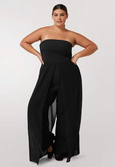 c9b23bc7590 Black Strapless Jumpsuit with Chiffon Overlay