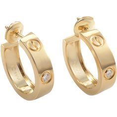 Pre-owned Cartier Diamond Gold LOVE Hoop Earrings (€3.295) ❤ liked on Polyvore featuring jewelry, earrings, hoop earrings, diamond earrings, diamond jewelry, gold bangle bracelet, diamond bangle bracelet and gold bangles