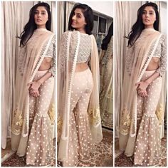 Pernia Qureshi in off-white sharara designed by Vineet Bahl Indian Gowns Dresses, Indian Fashion Dresses, Indian Designer Outfits, Fashion Outfits, Indian Wedding Outfits, Pakistani Outfits, Indian Outfits, Western Outfits, Wedding Dresses