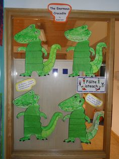 "Students at the Griffeen Valley Educate Together National Primary School made these ""Enormous Crocodile"" projects and wrote about the story in the crocodile's body section."