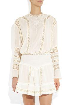 Isabel Marant|Cotton-crepe and lace dress |NET-A-PORTER.COM