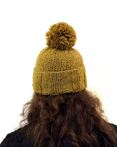 pompom toque in mustard yellow wool, hand knit by westlakedesigns