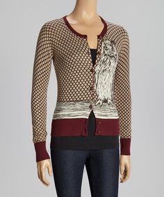 Taupe & Maroon Owl Cardigan - Knitted Dove